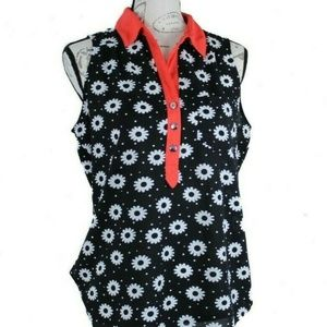 Floral Blouse Top Black Red Business Casual M